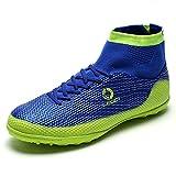 Saekeke Botas de fútbol para hombre FG/TF, botas de fútbol para jóvenes, zapatillas de entrenamiento para césped artificial, color Azul, talla 44 EU