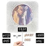 Lettore DVD con Bluetooth, lettore DVD portatile, montabile a parete Dual Pull interruttore altoparlanti con Full HD 1080p, telecomando e radio FM e timer, USB e AV uscita HDMI e display LCD