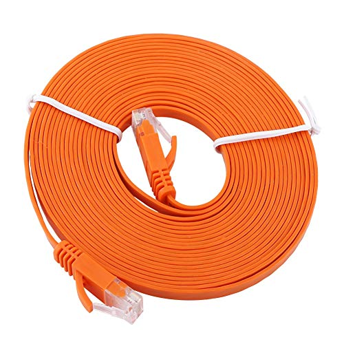 Cat 6 Cables-RJ45 CAT6 Red Ethernet Cable LAN plano UTP Patch Router Cables 1000M Naranja(5M)
