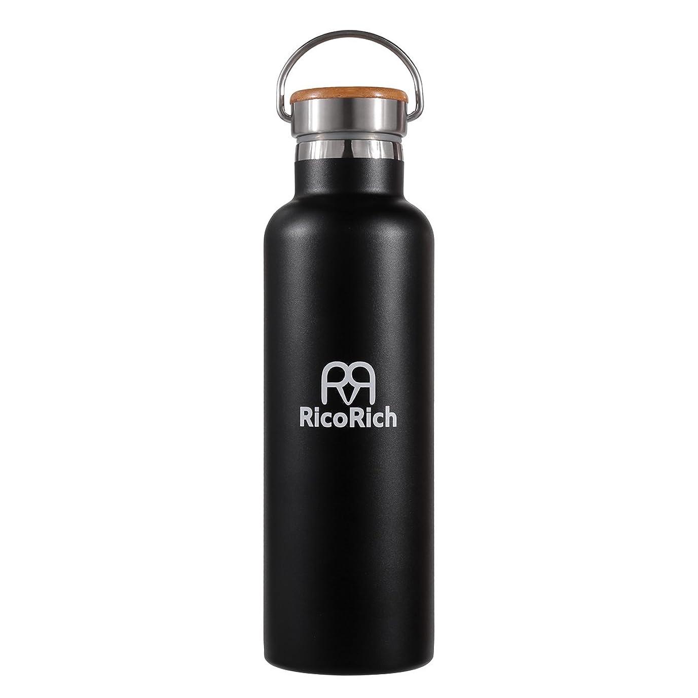 六月モスク緩めるRicoRich 真空断熱 保温 保冷 ステンレス水筒  スポーツボトル 750ml ブラック(RRWB06-BK)
