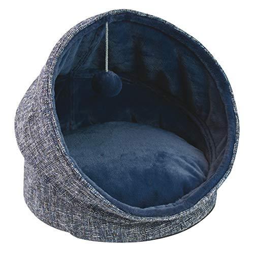 Croci Caseta/Caseta Igloo para Perros y Gatos Glam, Tejido Decorativo + Piel sintética, desenfundable, tamaño 44 x 44 x 48 cm, Color Azul – 2250 g