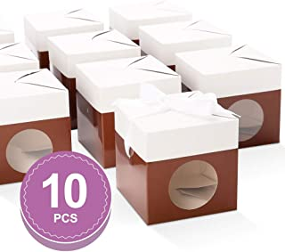 BAKIPACK Truffle Boxes Packaging 4x4x4 inches with Ribbons and Clear Window Chocolate Boxes Candy Boxes Brown 10 Pack