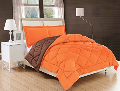 Elegant Comfort All Season Comforter and Year Round Medium Weight Super Soft Down Alternative Reversible 3-Piece Comforter Set, Full/Queen, Orange/Chocolate