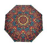 Indian Mandala Ancient Paraguas psicodélico para mujeres y hombres con cierre automático pequeño bolsos RainLadies 3 plegable