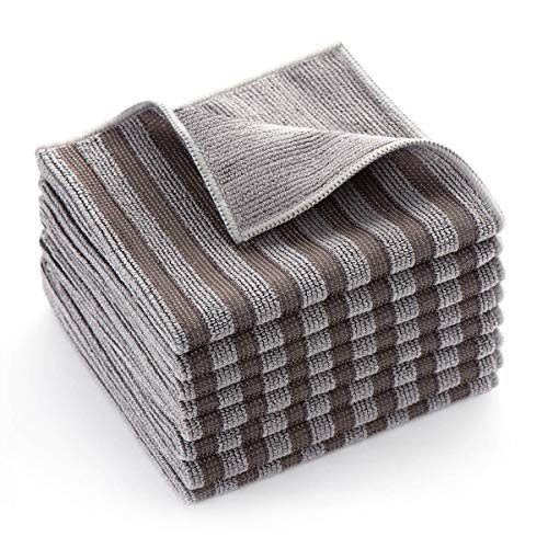 Stainless Steel Microfiber Cleaning Cloth for Kitchen Stovetop, Multi-Purpose Non-Scratch Cleaning Towel, Stripe Pattern, 12 x 12 Inches, Pack of 8