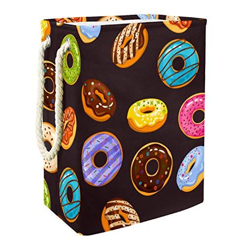 MUOOUM Delicious Donut - Cesta de lavandería plegable impermeable con diseño de chocolate de 49 cm, cesta de ropa sucia, organizador de almacenamiento de lino para colección de juguetes