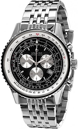 LOUIS XVI Herren-Armbanduhr Artagnan Stahlband Silber Schwarz Chronograph Analog Quarz Edelstahl 580