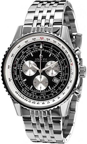LOUIS XVI Artagnan - Reloj de pulsera para hombre con correa de acero plateado y negro, cronógrafo, analógico, cuarzo, acero inoxidable 580