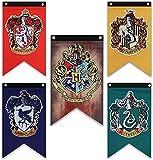 Lot de 5 drapeaux muraux Harry Potter de la maison de Poudlard - Double couche - Pour intérieur ou extérieur - Décoration de fête - Gryffondor, Serpentard, Poufsouffle, Serdaigle - 76,2 x 127 cm