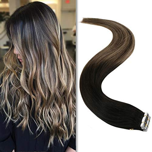YoungSee Ombre Tape in Extensions Black Balayage Real Tape on Human Hair Extensions Natural Black to Dark Brown with Ash Blonde 16 Inch 20pcs 50g