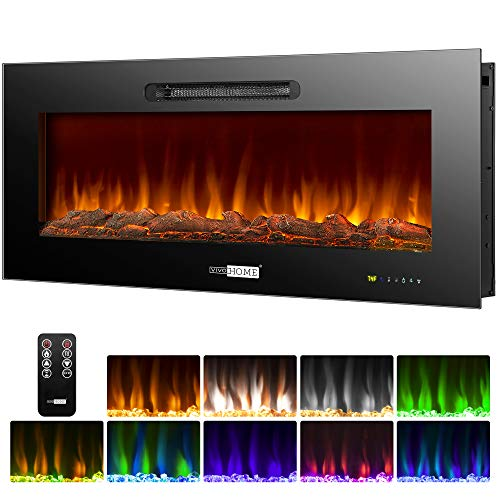 VIVOHOME 50 Inch 750W / 1500W Wall Mounted and in Wall Recessed Electric Fireplace Heater with Remote Control Touch Screen, ETL Certified, Overheating Protection, 9 Flame Color, Log Set and Crystal