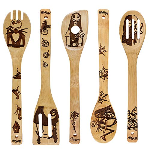 Unique Pattern Burned Wooden Spoons Nightmare Kitchen Slotted Spoon House Warming Presents Bamboo Utensil Set(5 Pieces)
