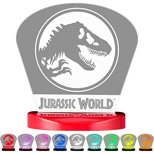 Jurassic World 43066 Table Lamp LED Night Light, Color-Changing Plug-in, Dinosuar, T-Rex, Velociraptor, Collectors Edition, UL-Listed, Ideal for Bedroom, Bathroom, Nursery, 1-Pack