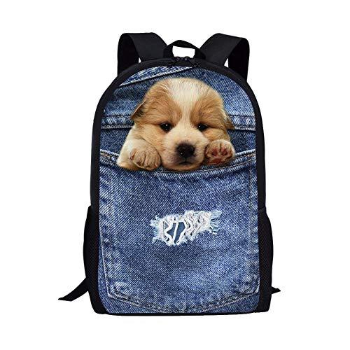 Cozeyat Pet Dog Print Backpack Cute Puppy School Bag Creative Design Bookbag for Kids Boys Girls