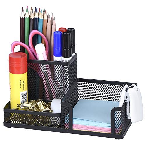 Comix Black Pen Holder, Mesh Office Supplies Accessories Caddy with Sticky Notes Holder, Desk...