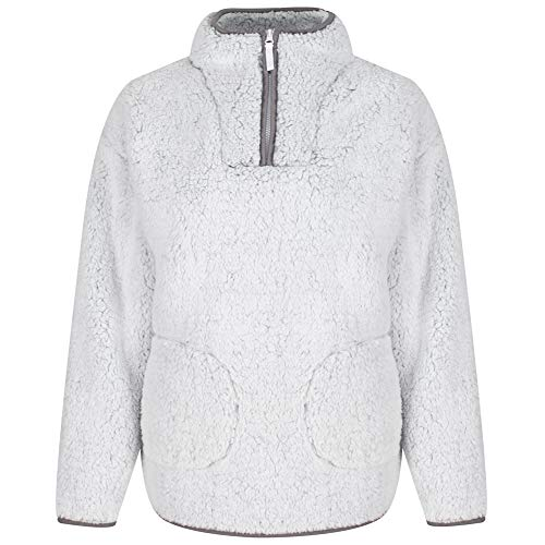 Light & Shade Pretty Woman Womens Borg Supersoft Fleece Snuggle Lounge Top Bed Jacket, Grey, Large/X-Large