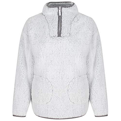 Light & Shade Borg Supersoft Fleece Snuggle Chaqueta Lounge Top Bed, Grey, Small/Medium para Mujer