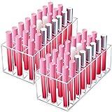 2 Piezas Organizador de Pintalabios con 24 Cuadrículas Expositor de Pintalabios Transparente Organizador de Maquillaje de Acrílico para Almacenaje de Pintalabios