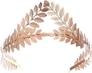 Minkissy Vintage Leaves Crown Hair Bands Wedding tiara Headdress for Bride Wedding Golden