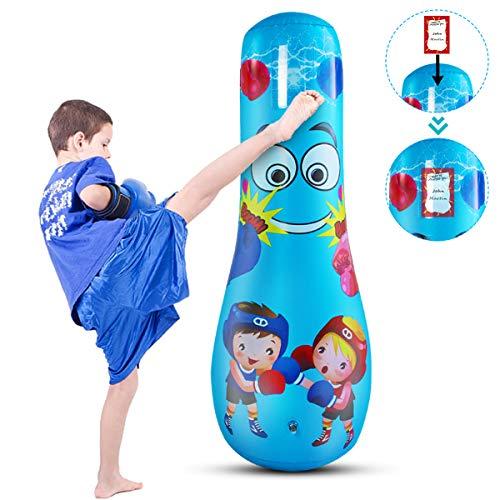 Tianhaik Aufblasbare Boxsack Kinder Erwachsenen Training Fitness Sandsäcke Freistehende Boxen Stress Abbauen Tasche