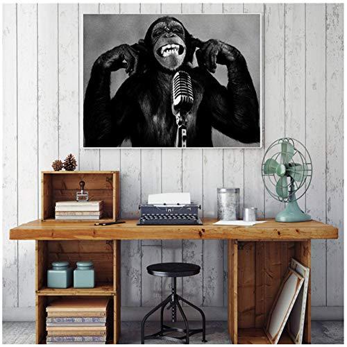 sjkkad dier oranje-urethaan muziek AFFE creatief canvas schilderij muurschilderijen voor woonkamer decoratie Maison poster zwart wit kunst-60x80 cm geen lijst