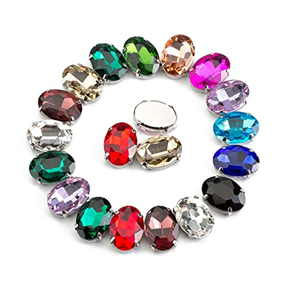 50 Pcs Sew On Rhinestone Crystal Rhinestones Oval in Silver Color Prong Setting Glass Made (Mixed Color, 10 X14 MM)