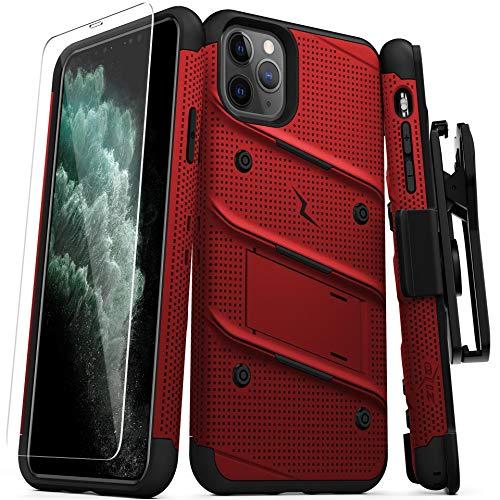 Zizo Bolt Cover - Carcasa para iPhone 11 Pro MAX con Grado Militar + Protector de visualización de Vidrio y Soporte y Funda (Rojo/Negro)