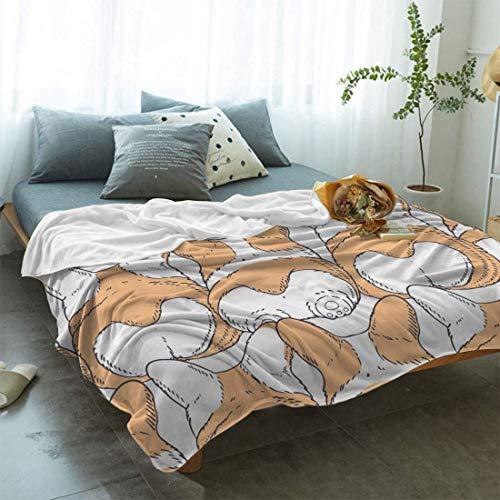 Manta para todas las estaciones, para sofá, diseño de dibujos animados, con suela y orejas de perro Corgi, ligera, reversible, acogedora, para cama y sofá de 127 x 101 cm