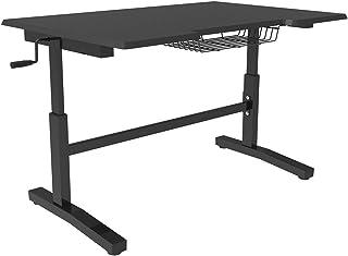 E-WIN パソコンデスク 高さ調節可能 幅116㎝×奥行76.5㎝ マット仕上げ スタンディングデスク 昇降テーブル ゲーミングデスク ブラック SD2-BK【メーカー保証:1年】