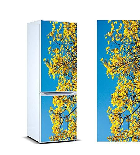 Oedim Stickers Adhesif Mural Vinyle Autocollants Frigo Motif Feuilles Jaune Printemps de 200 X 70 CM   Déco Revêtement Amenagement de Mur Meuble  