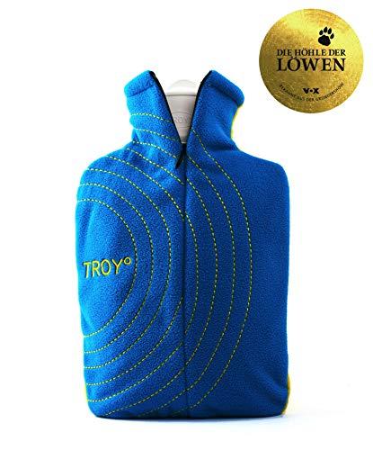 TROY - die sichere Wärmflasche - 2x so lange warm – schneller auf Wohlfühltemperatur – wird nicht zu heiß (Blau/Gelb)