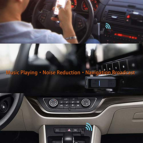 TekHome Bluetooth Aux Adapter | Bluetooth Auxiliary Adapter for Car | Aux to Bluetooth 5.0 Receiver | 3.5mm Mini Bluetooth Receiver for Home Stereo | Bluetooth Headphone Jack | Black.
