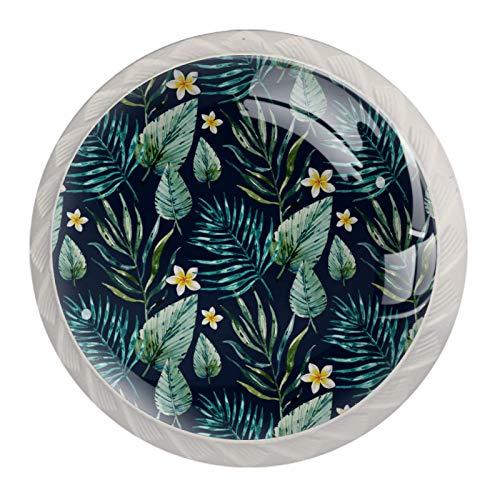 Crystal Cabinet Knob Drawer Handles Crystal Glass Dress Pulls Knobs, Green Tropical Leaves & Frangipani (4 Pack)