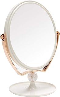 YEAKE 卓上ミラー 鏡 卓上&3倍拡大鏡&化粧鏡 スタンドミラー卓上鏡 かがみ 360度の回転の両面鏡台座に収納できる女優ミラー、3倍拡大鏡+平面鏡