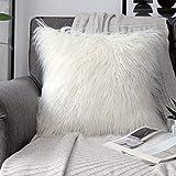 PHANTOSCOPE Decorative New Luxury Series Merino Style Fur Throw Pillow Case Cushion Cover 18' x 18' 45cm x 45cm (Off-White)