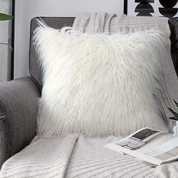 phantoscope Decorative New Luxury Series Merino Style Fur Throw Pillow Case Cushion Cover 18  x 18  45cm x 45cm  Off-White
