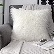 "phantoscope Decorative New Luxury Series Merino Style Fur Throw Pillow Case Cushion Cover 18"" x 18"" 45cm x 45cm (Off-White)"