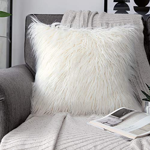 PHANTOSCOPE Decorative New Luxury Series Merino Style Fur Throw Pillow Case Cushion Cover 18' x 18' 45cm x 45cm (Off-White)