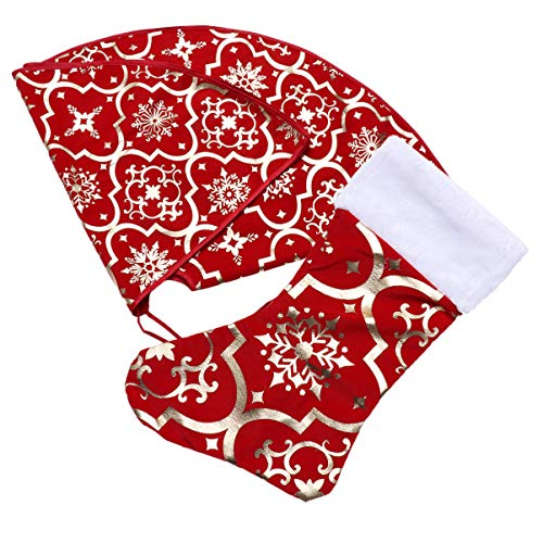 BESPORTBLE Christmas Tree Skirt Apron Mat Decoration Christmas Tree Apron Skirt Base Mat Dress Up Props for Party Home 120 cm / 47 Inches (Red)