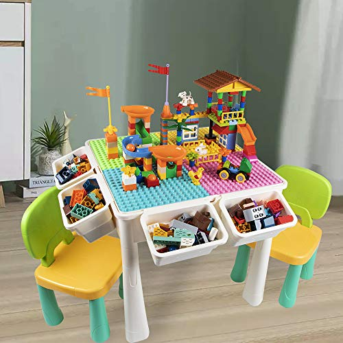 GobiDex Upgrade Multi Activity Table Set for Kids with 2 Chairs-Play Table and Building Block Table with Storage,230 Pcs Blocks Compatible Bricks Toy,for Learning,Drawing,Playing and Eating