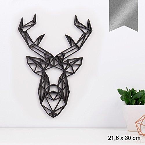 KLEINLAUT 3D-Origamis aus Holz - Wähle EIN Motiv & Farbe - Hirschkopf - 21,6 x 30 cm (L) - Silber
