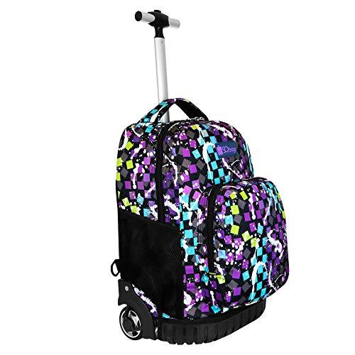 SQbags Mochila escolar con ruedas para Niña o Niño Confeti, Mango retráctil, asas, acolchada,…