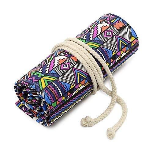 Sumnacon 72 Trous Sac en Toile (avec couleur magnifique) à Crayon, rouleau de crayon,Multi-usages, Boule élastique, pour l'Ecole et Bureau (style bohémien )
