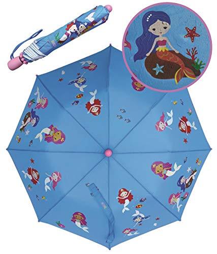 HECKBO Kinder Magic Regenschirm Meerjungfrau – wechselt bei Regen die Farbe – Mädchen Faltregenschirm: passt in jeden Schulranzen – mit Reflektorstreifen – Holzgriff, Schutzkappen & Schutzhülle