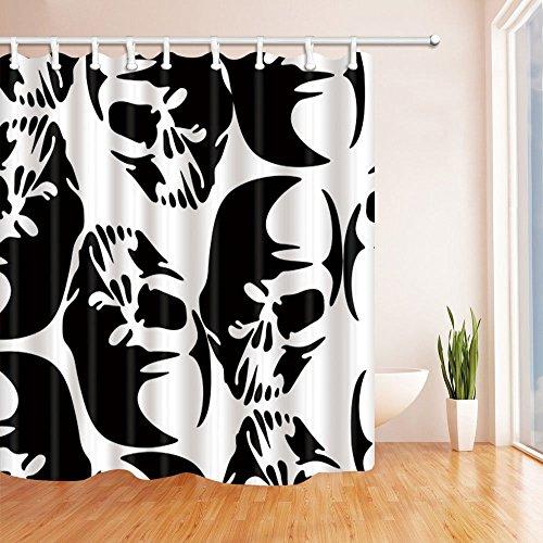 mintlmk zwart wit Terror schedel douchegordijn in bad 71X71 inch polyester stof badkamer Fantastische decoraties badgordijnen haken inbegrepen