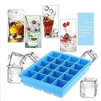 20グリッドキューブトレイ金型、シリコーン再利用可能なアイスキャンディー金型セット、カクテルウイスキーチョコレート用アイスキャンディートレイホルダー(青い)
