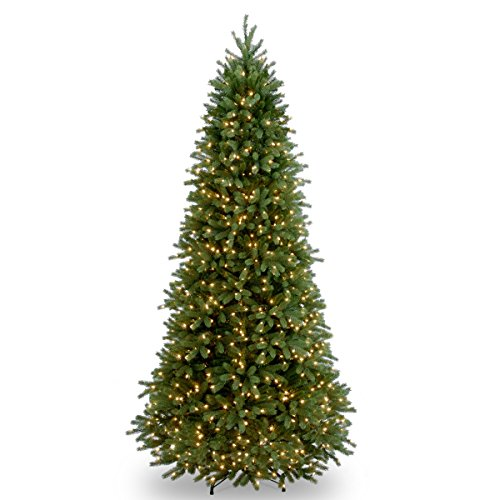 National Tree Company 'Feel Real' Pre-lit Artificial Christmas Tree | Includes Pre-strung White Lights and Stand | Jersey Frasier Fir Slim - 9 ft