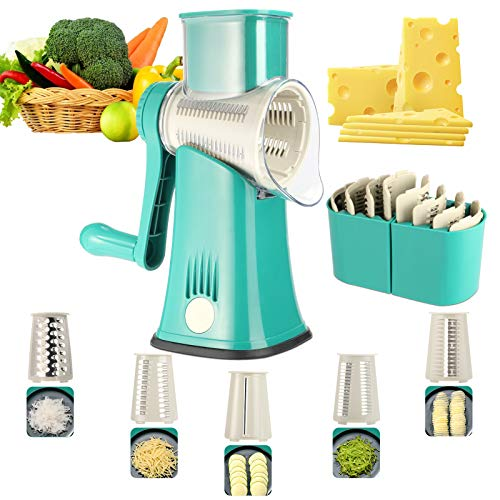 Rotary Cheese Grater 5 in 1 ANOTERKitchen Round Mandoline Slicer Easy Clean Handheld Julienne Shredder Waffle Slicers Stainless Steel Blades for Veggies Nuts French Fries