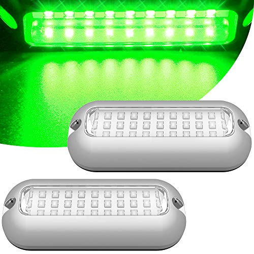 HUSUKU Mini 27LED Marine Led Lights for Boat Underwater(Green), 2PCS, 3.7inch, IP68, 316 Stainless Steel, Surface Mount for Yacht Pontoon Sailboat Kayak Skiff Duck Jon Accent Bass Boat Vessel Fishing