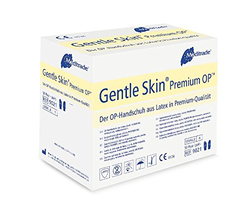 Meditrade 90217W Gentle Skin Premium OP Latex handschoen, steril, poedervrij, maat 7 (verpakking van 100 stuks)
